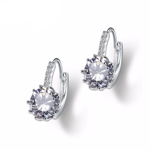 White Gold Plated Cubic Zirconia Women Earrings - Embrace Luxury
