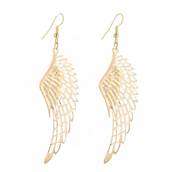 Dangle Long Feather Gold Plated Women Earrings