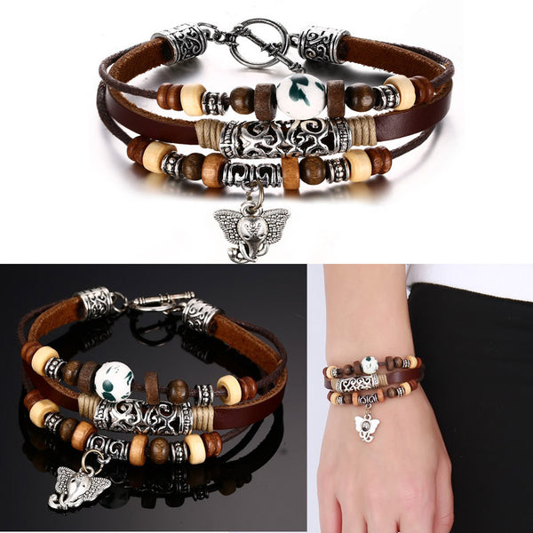 Stainless Steel Bangle Genuine Leather Unisex Bracelet - Embrace Luxury