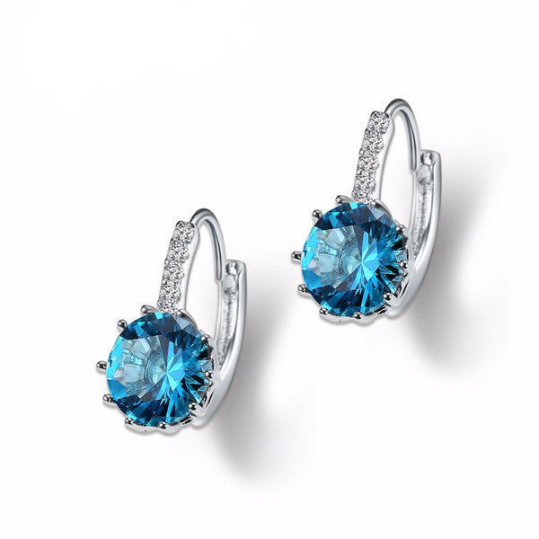 White Gold Plated Cubic Zirconia Women Earrings