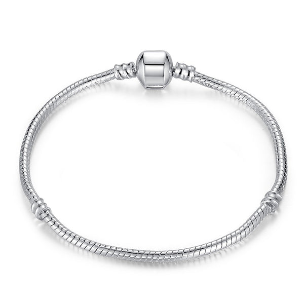 Silver Snake Chain Charm Bead Women Bracelet - Embrace Luxury