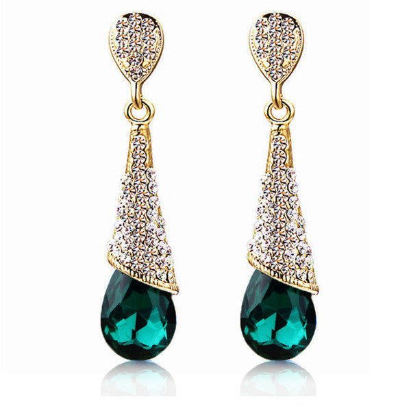 Gold Plated Water Drop Women Earrings - Embrace Luxury