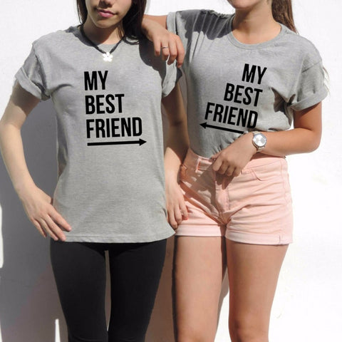 My Best Friend T-Shirt Summer Women BFF T Shirt Fashion Casual O Neck Short Sleeve Letter Print tshirts Funny Graphic Tee Top - Embrace Luxury