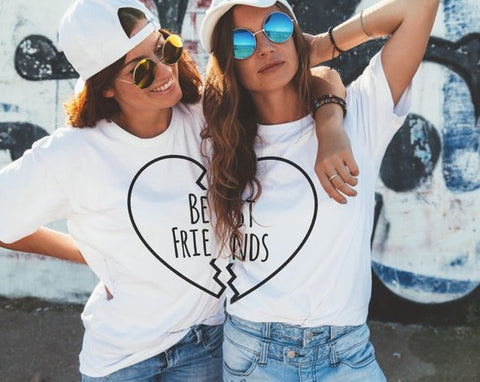 Sugarbaby Best Friends Couple T shirt Matching Couple Shirts Best Girls Summer Fashion T-shirt Bff Tumblr Tops Besties Bff Gift