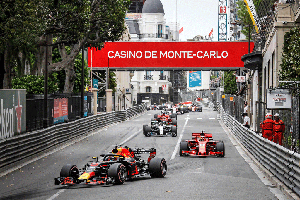 A line of race cars in the Formula 1 Monaco Grand Prix