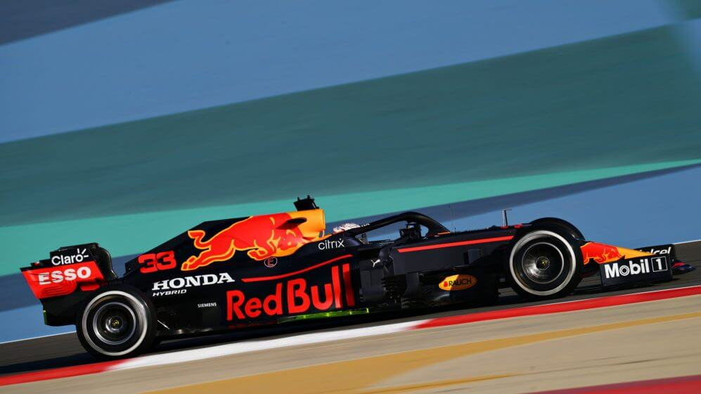 Red Bull car testing on a track before the new F1 season