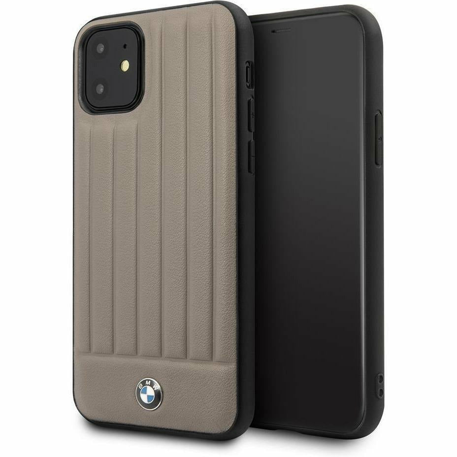 BMW Motorsports PHONE CASE FOR IPHONE 11 CASE PC/TPU WITH TAUPE REAL LEATHER HARD CASE TEXTURED HOT STAMPED LINES