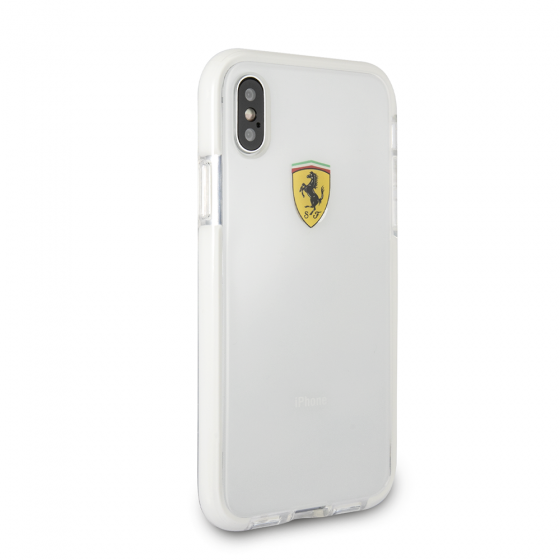 FERRARI IPHONE X TRANSPARENT SHOCKPROOF HARD CASE W/ WHITE BUMPER