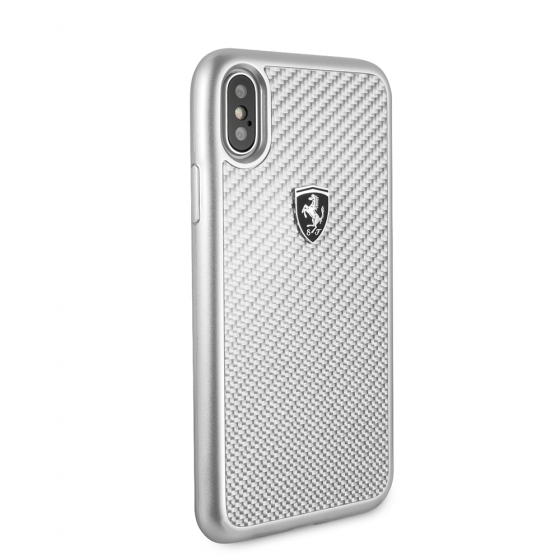 FERRARI SILVER GENUINE CARBON FIBER HERITAGE IPHONE X CASE