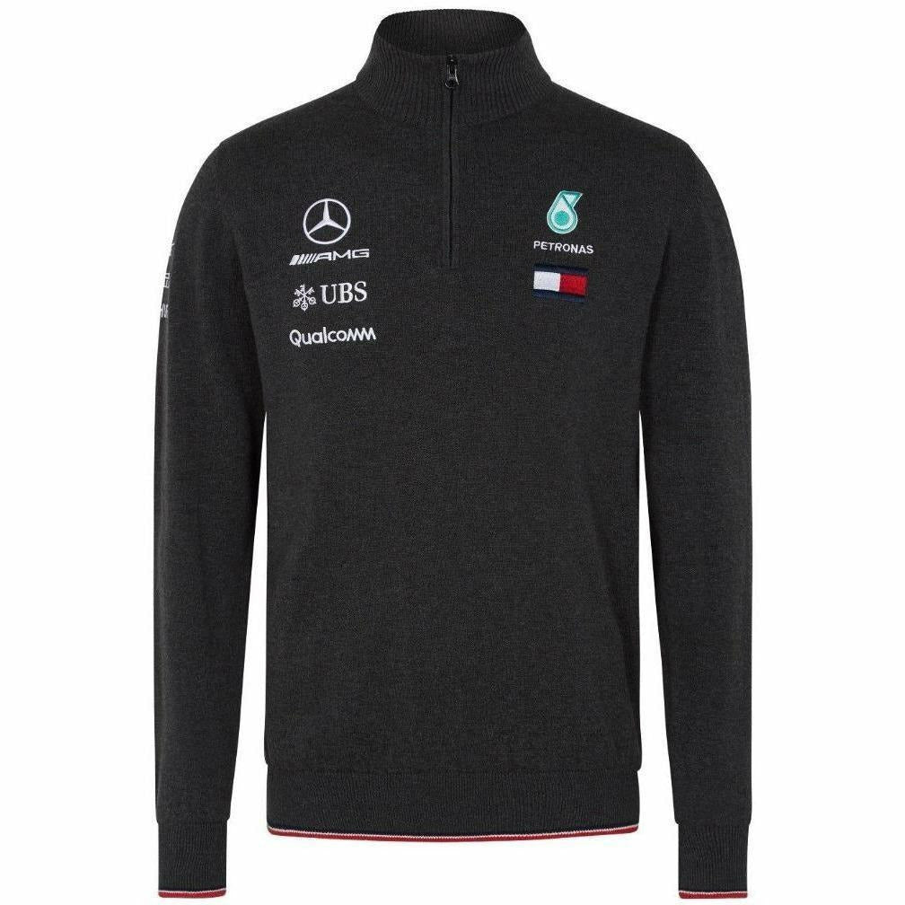 Mercedes Benz AMG Petronas Formula 1 Men's 2018 Half Zip Knitted Gray Jumper