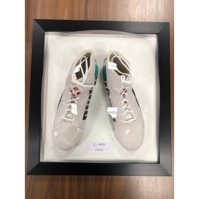 Mercedes Benz AMG F1 Lewis Hamilton Framed 2018 Replica White Puma Shoes Boots