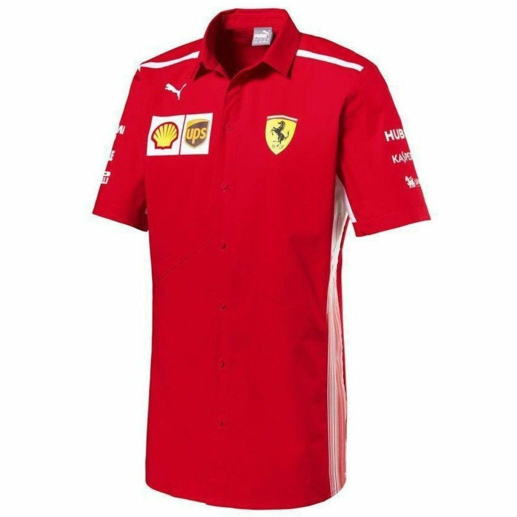 Scuderia Ferrari Formula 1 Men's Red 2018 Button Down Team Shirt w/Sponsors