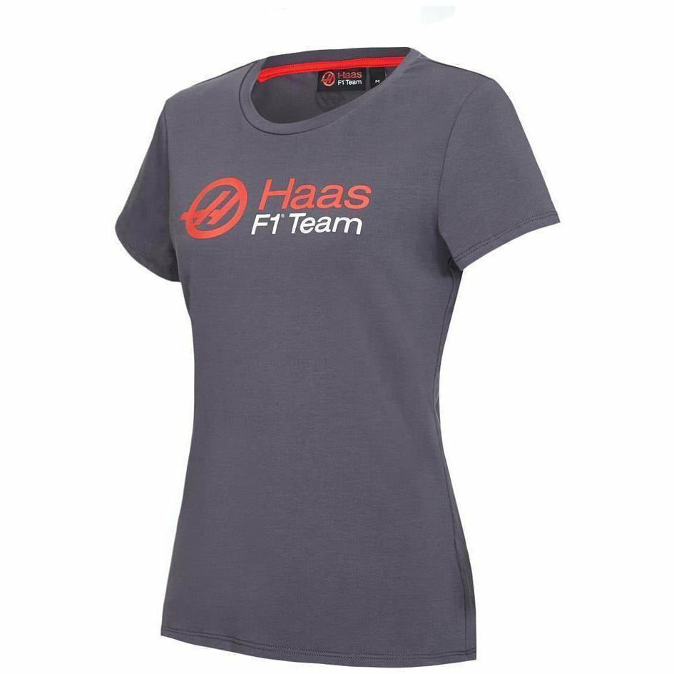 Haas American Team Formula 1 Motorsports Womens Authentic Gray Logo T-Shirt