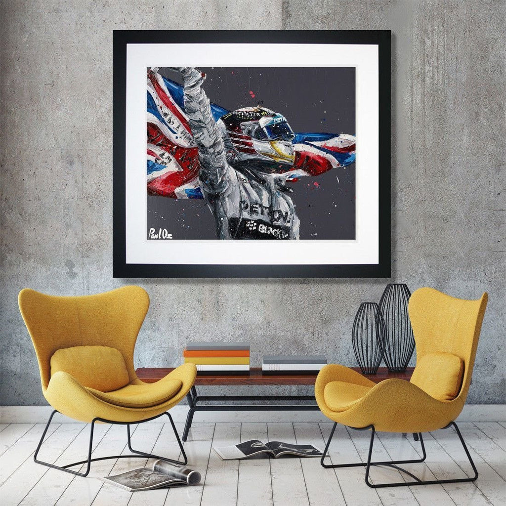 Mercedes Benz F1 Lewis Hamilton World Champion Paul Oz Print Framed