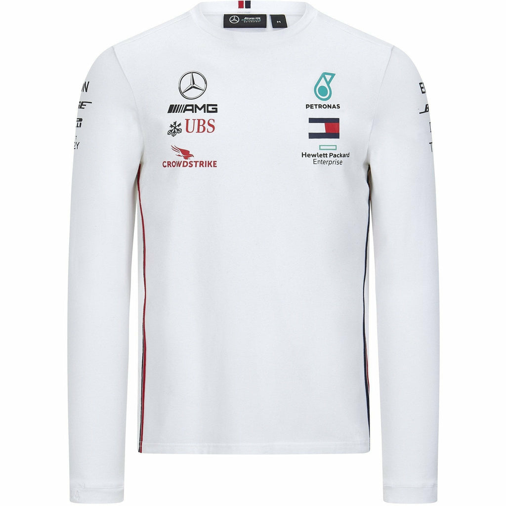 Mercedes Benz AMG Petronas F1 2020 Men's Long Sleeve Team Driver T-Shirt Black/White