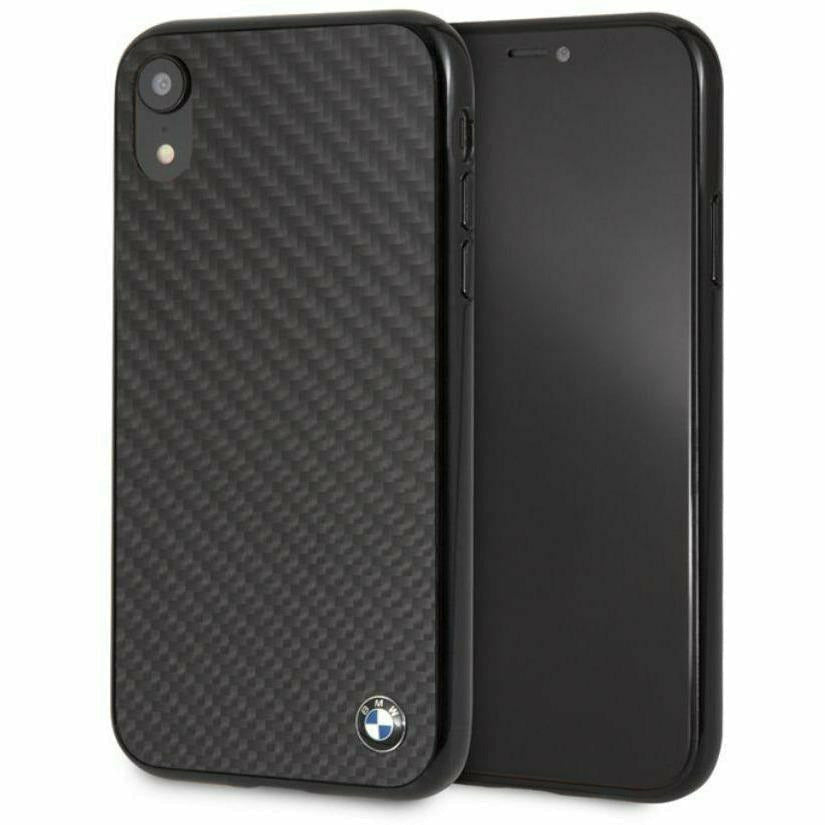 BMW Carbon Fiber Phone Case with Metal Logo, iPhone XR