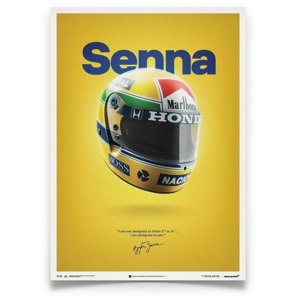 Ayrton Senna Authentic McLaren MP4/4 Helmet Poster