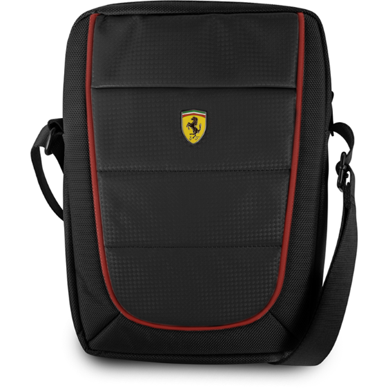 "FERRARI SCUDERIA 10"" BLACK NYLON & PU CARBON LEATHER TABLET BAG W/ RED PIPING"
