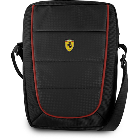 "17cd1c2f3f69 FERRARI SCUDERIA 10"" BLACK NYLON   PU CARBON LEATHER TABLET BAG W  RED  PIPING"