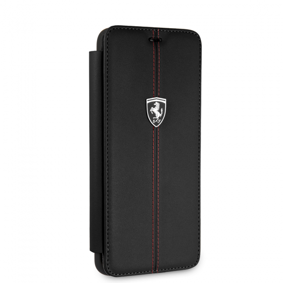FERRARI GENUINE BLACK LEATHER HERITAGE BOOKSTYLE CASE