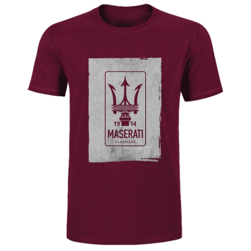 Maserati Classiche Men's Logo T-Shirt Bordeaux Red