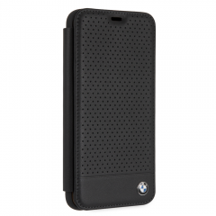 BMW Black Perforated Leather Bookstyle Hard Case, iPhone XS Max
