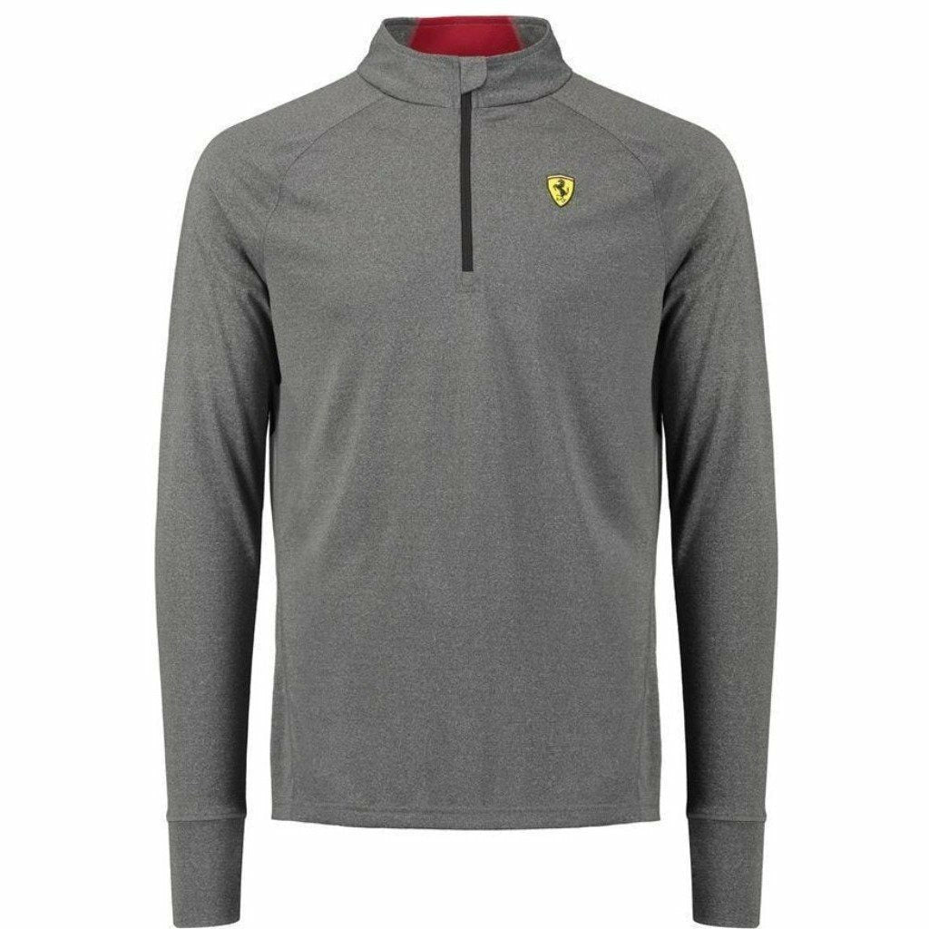 Scuderia Ferrari Formula 1 Men's 2018 Gray Long Sleeve 1/2 Zip Midlayer Shirt