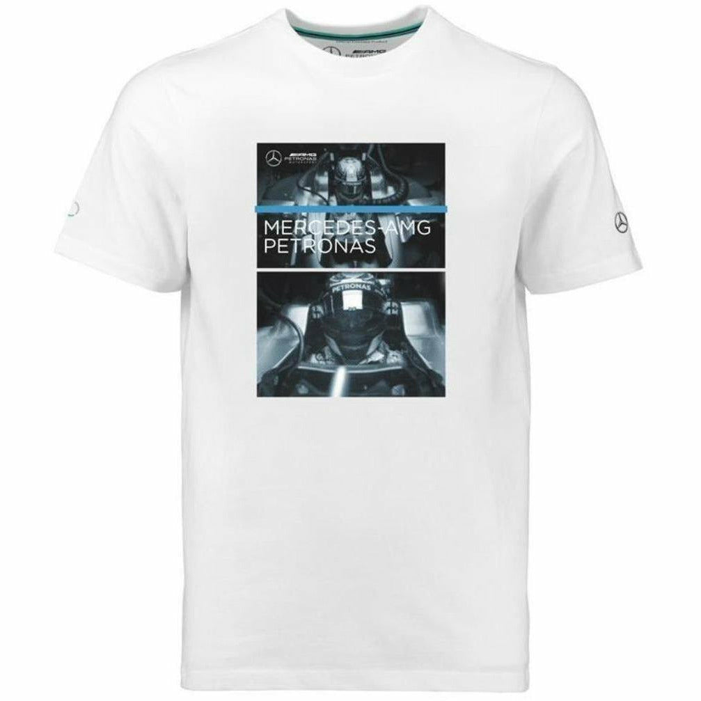 Mercedes Benz AMG Petronas Formula 1 Men's White Driver View 2018 Graphic T-Shirt