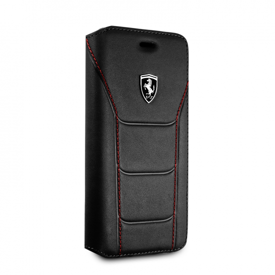 FERRARI GENUINE BLACK QUILTED LEATHER BOOK STYLE CASE WITH WALLET