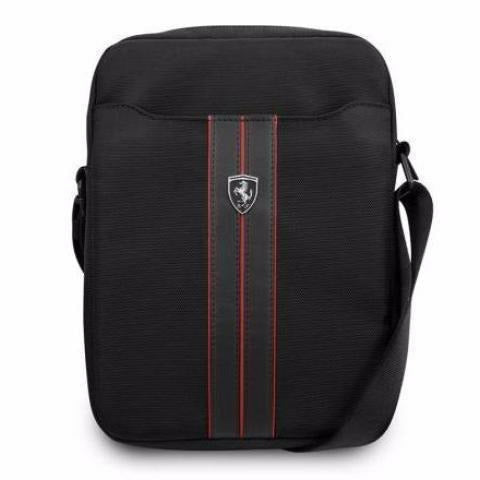"FERRARI URBAN COLLECTION 10"" BLACK TABLET BAG WITH RED PIPING"