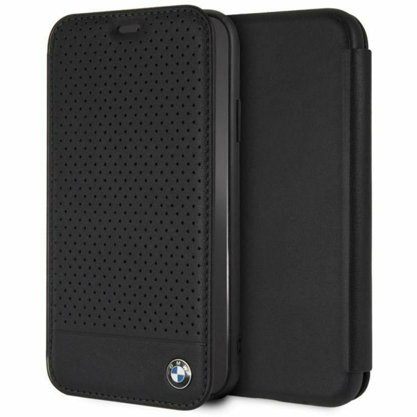 BMW Black Perforated Leather Bookstyle Hard Case, iPhone XR