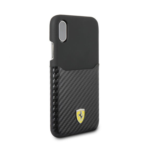 FERRARI IPHONE X BLACK PU LEATHER CASE WITH PU CARBON FIBER CARD SLOT
