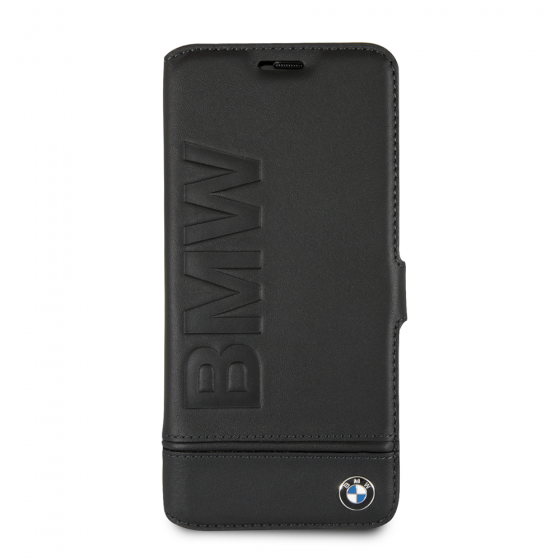 BMW BLACK GENUINE LEATHER LOGO HARD BOOKTYPE CASE