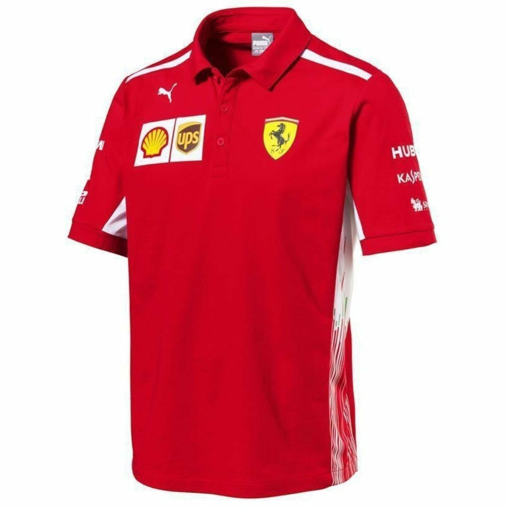 Scuderia Ferrari Formula 1 Men's Red 2018 Team Polo Shirt w/Sponsors