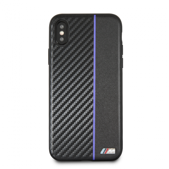 BMW NAVY STRIPE/ PU CARBON FIBER HARD CASE