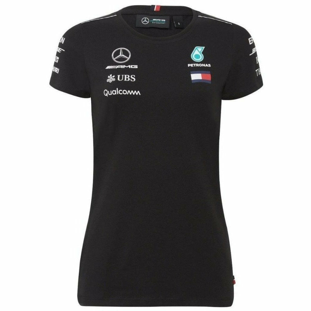 Mercedes Benz AMG Formula 1 Petronas Black 2018 women's Driver Team T-Shirt