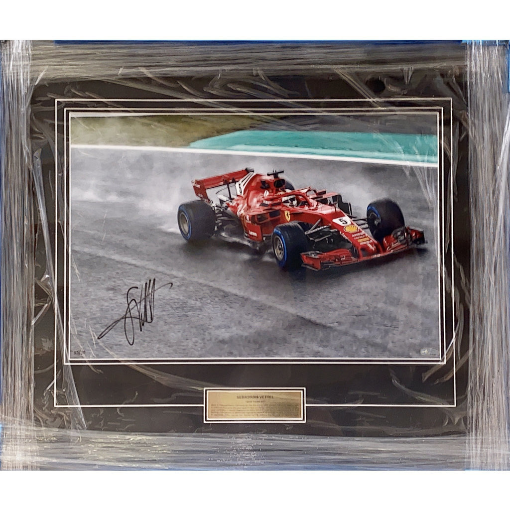 "Scuderia Ferrari Sebastian Vettel ""2018 Racing In The Rain"" Signed and Framed Photo"