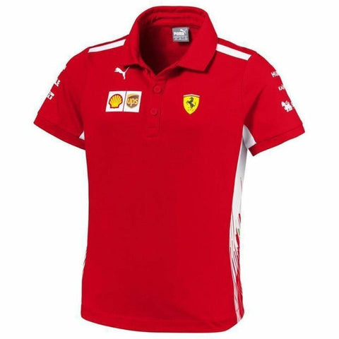 Scuderia Ferrari Formula 1 2018 Kids Team Red Polo w/Sponsors