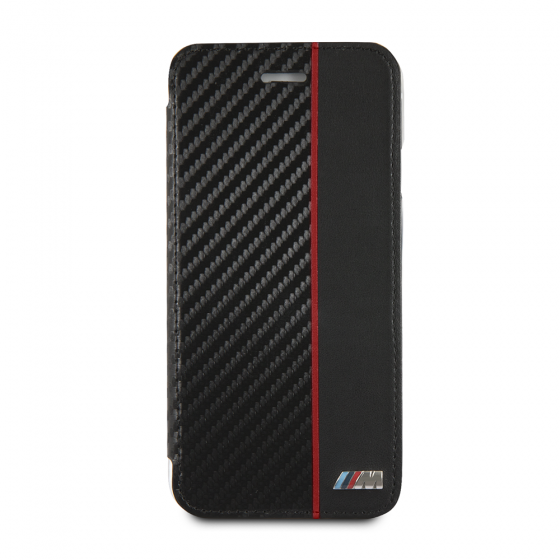 BMW BOOKTYPE HARD CASE WITH RED STRIPE/PU CARBON FIBER