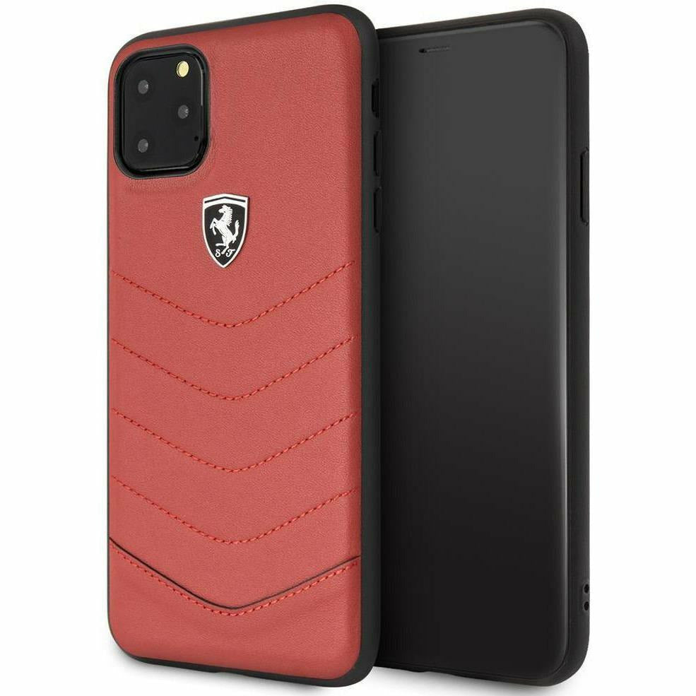 Scuderia Ferrari PHONE CASE FOR IPHONE 11 PRO MAX GENUINE LEATHER HARD CASE OFF TRACK QUILTED