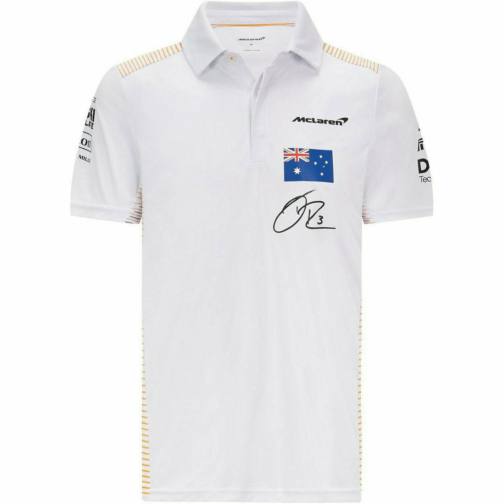McLaren F1 Men's 2021 Team Daniel Ricciardo Polo Shirt - White