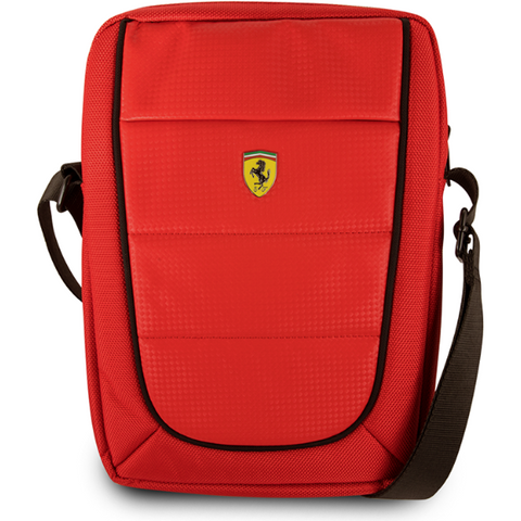 "FERRARI SCUDERIA 10"" RED NYLON & PU CARBON LEATHER TABLET BAG W/ BLACK PIPING"