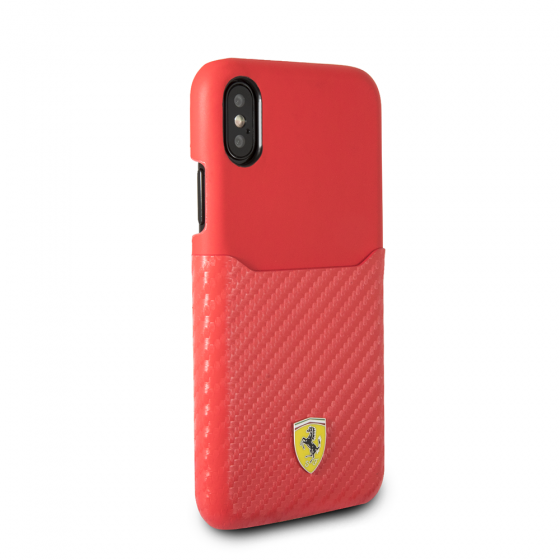 FERRARI RED PU LEATHER CASE WITH PU CARBON FIBER CARD SLOT