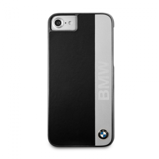 BMW IPHONE7/8 HARD PHONE CASE WITH GENUINE LEATHER AND ENGRAVED ALUMINUM