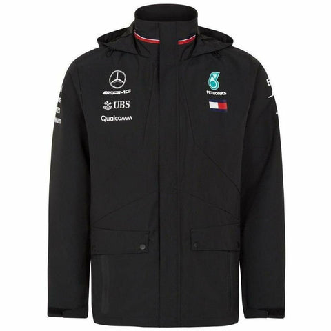 Mercedes Benz AMG Petronas Formula 1 Men's Black 2018 Team Rain Jacket