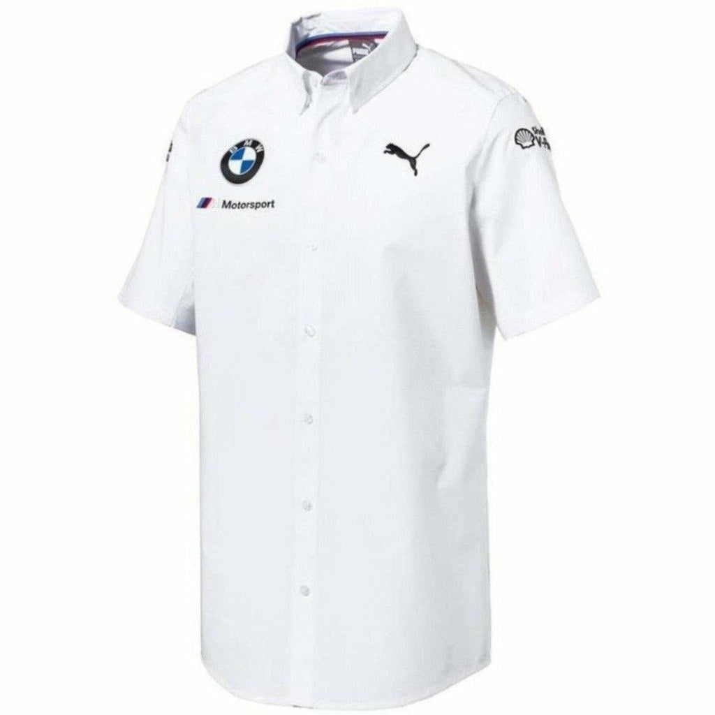 BMW Motorsports White Team 2018 Button Up Shirt w/Sponsors Logo's