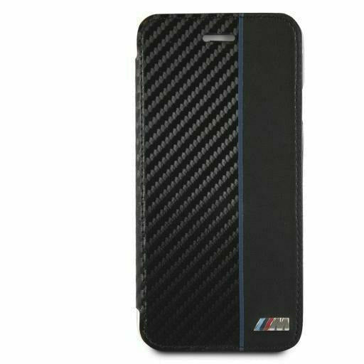 BMW BOOKTYPE HARD CASE WITH NAVY STRIPE/ PU CARBON FIBER, iPhone XS Max