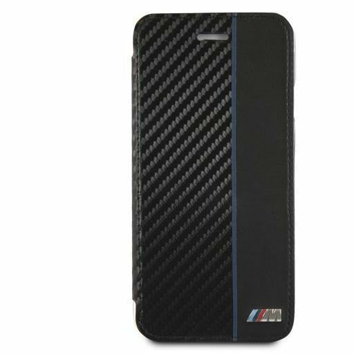 BMW BOOKTYPE HARD CASE WITH NAVY STRIPE/ PU CARBON FIBER, iPhone XR