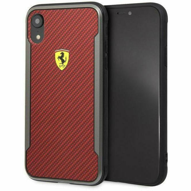 Ferrari Red On Track Carbon Fiber Effect Phone Case, iPhone XR