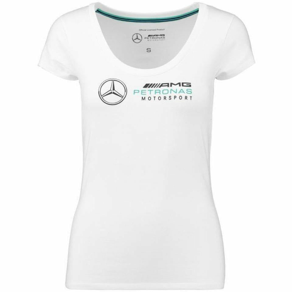 Mercedes Benz Petronas AMG Formula 1 Women's 2018 white Team Logo T-shirt F1